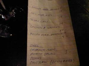 AAA's (Triple A) menu on a small piece of lined paper