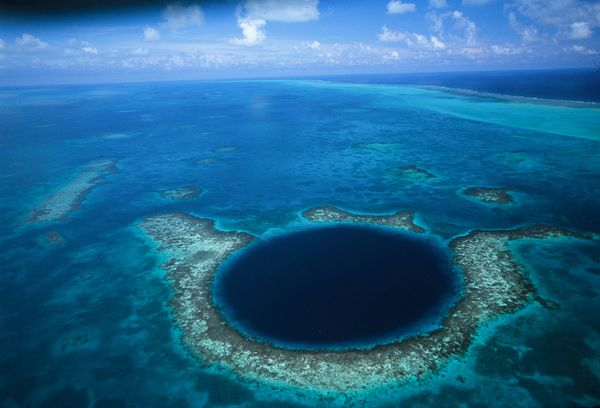 The Blue Hole in Belize. Shot by David Doubilet for National Geographic