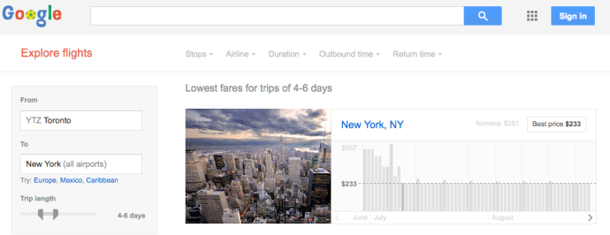 Sample Google Flight Explorer search page