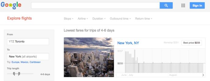 Sample Google Flight Explorer search page